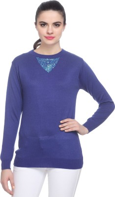 Miss Grace Solid Round Neck Party Women's Blue Sweater