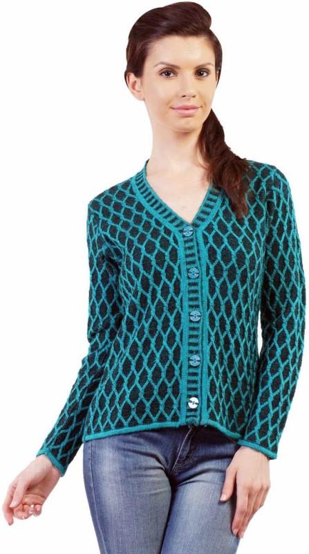Pazaro Self Design V-neck Casual Women Blue Sweater