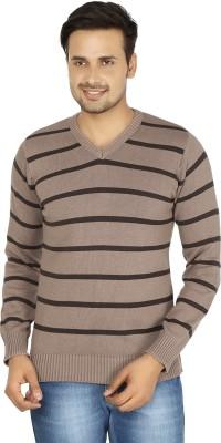 Fizzaro Striped V-neck Casual Men's Brown Sweater
