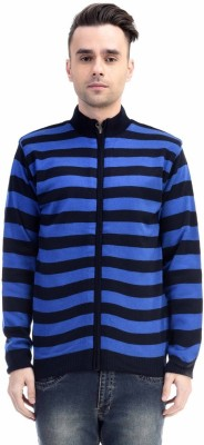 CLUB AVIS USA Striped Turtle Neck Casual Men's Dark Blue Sweater