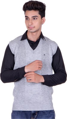 Pierre Carlo Solid, Self Design V-neck Casual Men's Grey Sweater