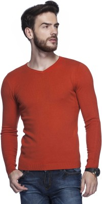 Tinted Solid V-neck Men's Orange Sweater