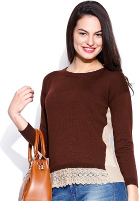 Dressberry Self Design Round Neck Casual Women's Brown Sweater