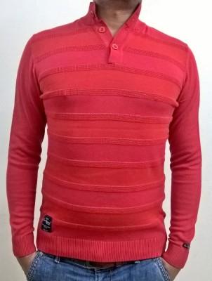Locus Classicus Striped Turtle Neck Men's Red Sweater