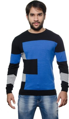AMX Striped Round Neck Casual Men's Light Blue, Grey, Black Sweater