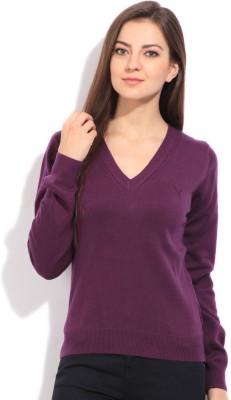 Puma Solid V-neck Sports Women's Purple Sweater