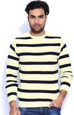 HRX by Hrithik Roshan Self Design Round Neck Casual Men's White, Dark Blue Sweater