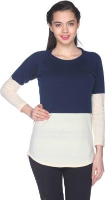 CLUB YORK Striped Round Neck Casual Women's Blue Sweater