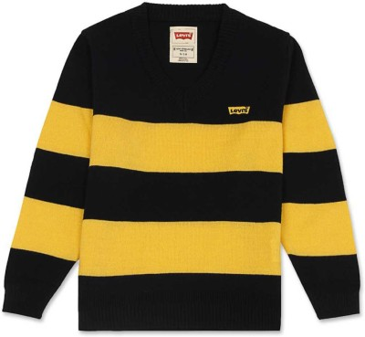 Levi's Striped V-neck Casual Girl's Yellow, Dark Blue Sweater