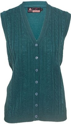 Prrem's Solid V-neck Casual Women's Blue Sweater