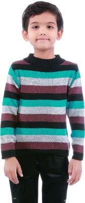 Dee Venice Striped Round Neck Casual Baby Boys Purple Sweater