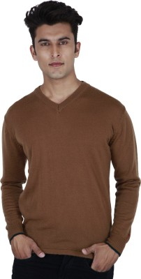 Provogue Solid V-neck Casual Mens Brown Sweater
