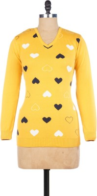 Pazaro Printed V-neck Casual Women's Gold Sweater