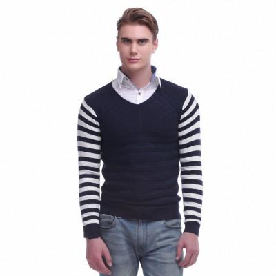 Jogur Self Design V-neck Men's Blue Sweater