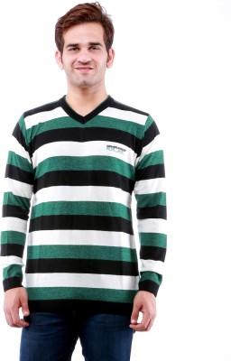 Dee Venice Striped V-neck Casual Men's Green Sweater