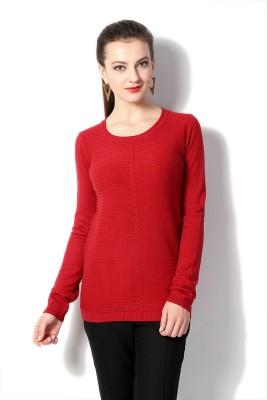Van Heusen Striped Round Neck Women's Red Sweater