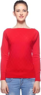 Fasnoya Woven Round Neck Casual Women's Red Sweater