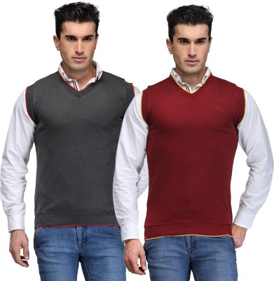 TSX Solid V-neck Casual, Party, Formal Men's Grey, Maroon Sweater