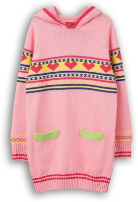 Lilliput Self Design Turtle Neck Girl's Pink Sweater