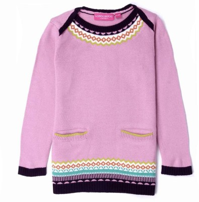 London Fog Solid Round Neck Casual Baby Girl's Pink Sweater