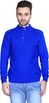 BRAVEZI Solid Turtle Neck Casual Men,s Blue Sweater