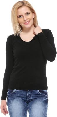Fasnoya Self Design V-neck Casual Women's Black Sweater