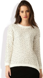 Dressberry Self Design Round Neck Casual Women White Sweater