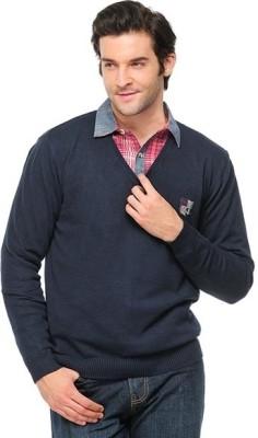 Yepme Solid V-neck Casual Men,s Blue Sweater