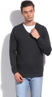 Arrow New York Self Design V-neck Casual Men's Grey Sweater