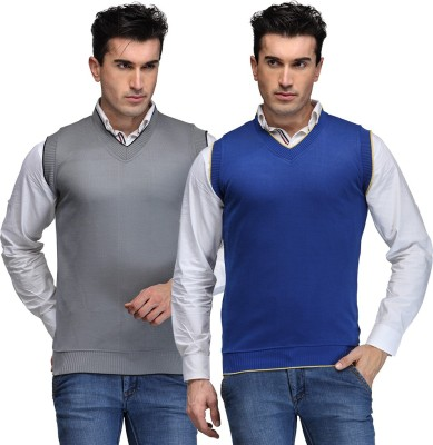 TSX Solid V-neck Casual, Party, Formal Men's Grey, Blue Sweater