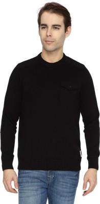 Wrangler Solid Round Neck Casual Men's Black Sweater
