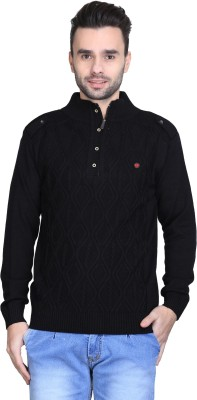 BRAVEZI Solid Turtle Neck Casual Men,s Black Sweater