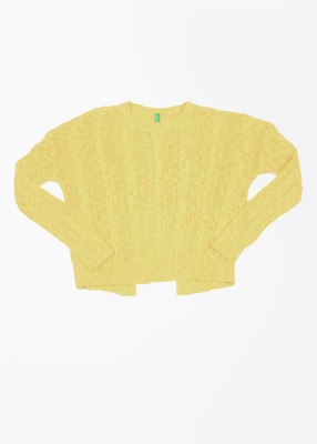 United Colors of Benetton Self Design Round Neck Casual Girls Yellow Sweater