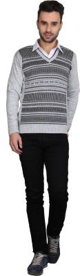 BRAVEZI Self Design V-neck Casual Men,s Grey Sweater
