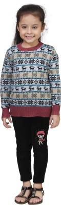 Crazeis Printed Round Neck Casual Girls Red, Beige Sweater