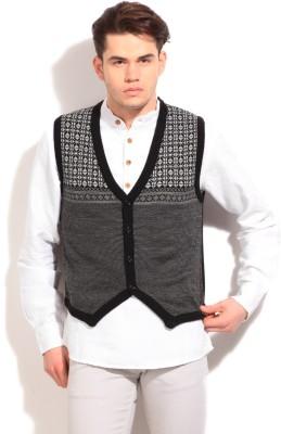 Peter England Self Design Casual Men's Grey, Black Sweater
