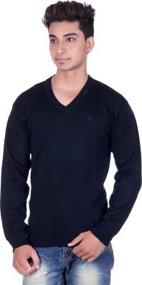 Pierre Carlo Solid V-neck Casual Men's Dark Blue Sweater