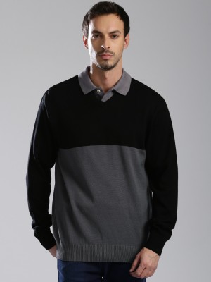 HRX by Hrithik Roshan Solid V-neck Casual Mens Black, Grey Sweater