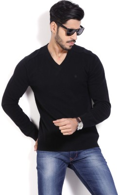 United Colors of Benetton Solid V-neck Casual Men Black Sweater