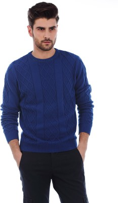 Basics Solid Round Neck Casual Men's Blue Sweater