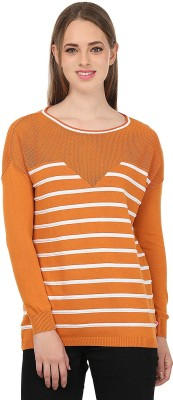 United Colors of Benetton Striped Round Neck Casual Women's Orange, White Sweater