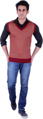 SIOUX Solid V-neck Men's Maroon Sweater