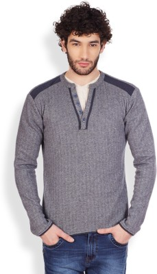 Pique Republic Harringbone Round Neck Casual Men's Blue Sweater