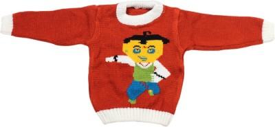Fusion Fashion Solid Round Neck Casual Baby Boy's Orange Sweater