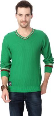 University of Oxford Self Design V-neck Men's Green Sweater