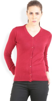 Wrangler Solid V-neck Casual, Party Women's Maroon Sweater
