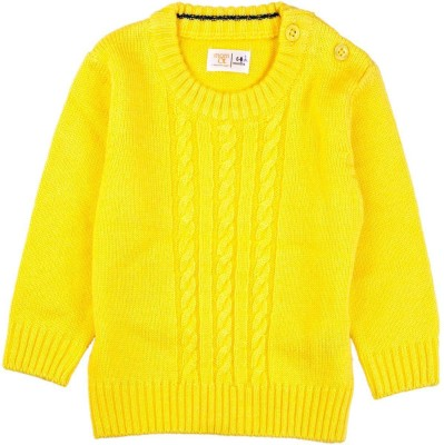 Mom & Me Solid Round Neck Casual Baby Boy's Yellow Sweater