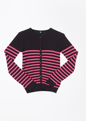 United Colors of Benetton Striped Casual Girl's Black, Pink Sweater