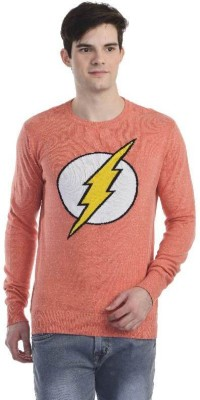 DC Comic Printed Round Neck Casual Men's Red Sweater