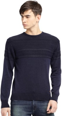 Mast & Harbour Self Design Round Neck Casual Mens Dark Blue Sweater